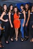 NEW YORK - 8 AGOSTO: Programma di modelli dietro le quinte con i giudici prima del concorso di Top Model Latina 2014 Immagine Stock Libera da Diritti