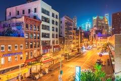 New York alla notte, Chinatown Fotografia Stock