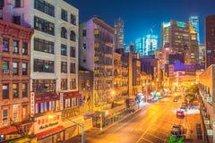 New York alla notte, Chinatown Immagine Stock