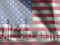 New York and American flag Stock Photos
