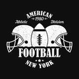 New York, american football print for sports apparel with helmet and ball. Typography emblem for t-shirt. Vector illustration. Royalty Free Stock Photo