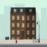 New York apartment building. Brown apartment building with stairs to the main door. Flat vector illustration Royalty Free Stock Photos
