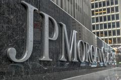 JP Morgan Chase - New York City. New York - April 14, 2018: The corporate sign in front of the JP Morgan Chase & Co office building on Park Avenue in New York royalty free stock photography