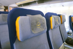 Lufthansa Boeing 747-400. NEW YORK - APRIL 06, 2016: inside of Lufthansa Boeing 747.  Lufthansa is a German airline and, when combined with its subsidiaries, the Royalty Free Stock Images