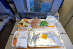 Lufthansa Boeing 747-400. NEW YORK - APRIL 06, 2016: meal in Economy Class of a  Lufthansa Boeing 747.  Lufthansa is a German airline and, when combined with its Stock Photography