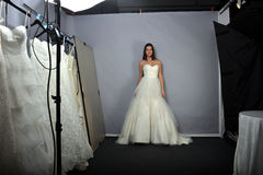 NEW YORK - APRIL 22: A Model posing for Anne Barge bridal presentation Stock Images