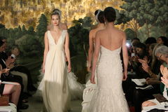 NEW YORK - APRIL 21: Models walk the runway finale  for Anne Barge bridal show Stock Images