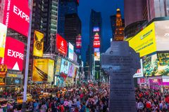 Tourists come visit Times Square Stock Image