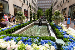 NEW YORK - AUGUST 23, 2015. ​​NEW YORK - AUGUST 23: Exterior views of to the Rockefeller center in Midtown Manhattan at the 5th Av on August 23, 2015 Royalty Free Stock Photography