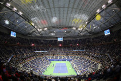 Arthur Ashe Stadium at Billie Jean King National Tennis Center during night session US Open 2017. NEW YORK - AUGUST 29, 2017: Arthur Ashe Stadium at Billie Jean Royalty Free Stock Images