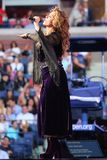 Canadian country singer and songwriter Shania Twain performs at 2017 US Open opening night ceremony. NEW YORK - AUGUST 28, 2017: Canadian country singer and Royalty Free Stock Photos