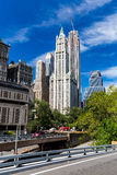 NEW YORK - AUGUST 22. Exterior view to the skyscraper Woolworth Building on August 22, 2015. Its a famous and historic building in New York and it was the Royalty Free Stock Photography