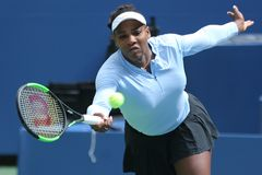 Grand Slam champion Serena Williams practices for the 2018 US Open at Billie Jean King National Tennis Center. NEW YORK - AUGUST 23, 2018: Grand Slam champion royalty free stock images
