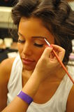 NEW YORK - AUGUST 08: Model getting ready backstage at Top Model Latina 2014 Stock Images