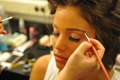 NEW YORK - AUGUST 08: Model getting ready backstage at Top Model Latina 2014 Stock Photo