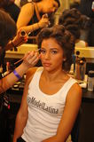 NEW YORK - AUGUST 08: Model getting ready backstage at Top Model Latina 2014 Royalty Free Stock Images