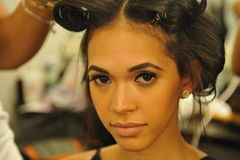 NEW YORK - AUGUST 08: Model getting ready backstage at Top Model Latina 2014 Royalty Free Stock Photo