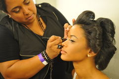 NEW YORK - AUGUST 08: Model getting ready backstage at Top Model Latina 2014 Stock Photos