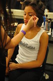 NEW YORK - AUGUST 08: Model getting ready backstage at Top Model Latina 2014 Royalty Free Stock Photos