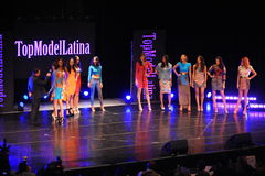 NEW YORK - AUGUST 08: Models compete on stage at Top Model Latina 2014 Stock Images