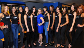 NEW YORK - AUGUST 08: Models lineup backstage with judges before Top Model Latina 2014 contest Stock Photos