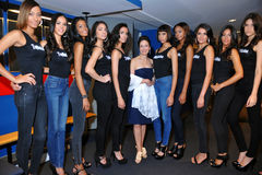 NEW YORK - AUGUST 08: Models lineup backstage with judges before Top Model Latina 2014 contest Stock Photography