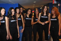 NEW YORK - AUGUST 08: Models lineup backstage with judges before Top Model Latina 2014 contest Stock Images