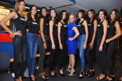 NEW YORK - AUGUST 08: Models lineup backstage with judges before Top Model Latina 2014 contest Stock Image