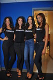 NEW YORK - AUGUST 08: Models lineup backstage before Top Model Latina 2014 contest Stock Photos