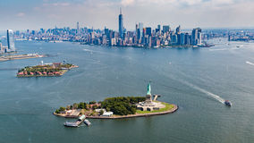NEW YORK - AUGUST 23, 2015. Overlook from a helicopter to New York Stock Images