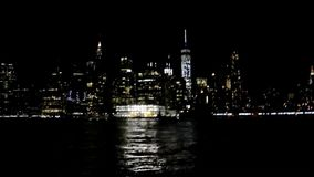 New York,August 3rd:New York City Panorama by night over Hudson river in New York City stock video