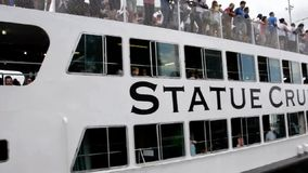 New York,August 3rd:Statue Cruise on Hudson river in from Manhattan in New York City stock footage