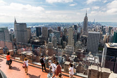 NEW YORK - AUGUST 23, 2015. NEW YORK - AUGUST 23: View to Downtown Manhattan with the famous Empire State Building on August 23, 2015. This view is from the Stock Photography