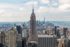 NEW YORK - AUGUST 23, 2015. NEW YORK - AUGUST 23: View to Downtown Manhattan with the famous Empire State Building on August 23, 2015. This view is from the Royalty Free Stock Photo