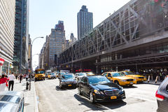 NEW YORK - AUGUST 22. View to the 8th Av from W42nd Street in New York on August 22, 2015. Its in the district of West Midtown, New York Stock Photography