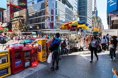 NEW YORK - AUGUST 22. View to the 8th Av from W42nd Street in New York on August 22, 2015. Its in the district of West Midtown, New York Stock Image