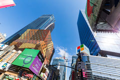 NEW YORK - AUGUST 22: View to the 8th Av from W42nd Street in Ne. W York on August 22, 2015. Its in the district of West Midtown, New York Stock Photos