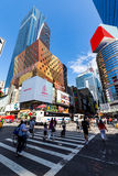 NEW YORK - AUGUST 22: View to the 8th Av from W42nd Street in Ne. W York on August 22, 2015. Its in the district of West Midtown, New York Royalty Free Stock Photography