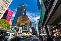 NEW YORK - AUGUST 22: View to the 8th Av from W42nd Street in Ne. W York on August 22, 2015. Its in the district of West Midtown, New York Stock Image