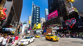 NEW YORK - AUGUST 22. View to the 8th Av from W33rd Street in New York on August 22, 2015. Its in the district of West Midtown, New York Stock Image