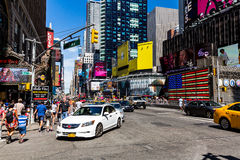 NEW YORK - AUGUST 22. View to the 8th Av from W33rd Street in New York on August 22, 2015. Its in the district of West Midtown, New York Royalty Free Stock Photo