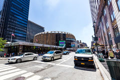 NEW YORK - AUGUST 22. View to the 8th Avenue and the Madison Square Garden in New York on August 22, 2015. Its in the district of Garment, New York Stock Images