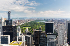 NEW YORK - AUGUST 22. NEW YORK - AUGUST 23: View to Uptown Manhattan with the famous Central Park on August 23, 2015. This view is from the rooftop of an another Royalty Free Stock Photo