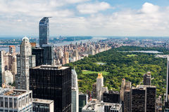NEW YORK - AUGUST 23, 2015. NEW YORK - AUGUST 23: View to Uptown Manhattan with the famous Central Park on August 23, 2015. This view is from the rooftop of an Royalty Free Stock Photography