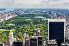 NEW YORK - AUGUST 23, 2015. NEW YORK - AUGUST 23: View to Uptown Manhattan with the famous Central Park on August 23, 2015. This view is from the rooftop of an Royalty Free Stock Photos