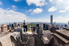 NEW YORK - AUGUST 23, 2015. NEW YORK - AUGUST 23: View to Uptown Manhattan with the famous Central Park on August 23, 2015. This view is from the rooftop of an Stock Photography