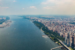 NEW YORK - AUGUST 23, 2015. NEW YORK - AUGUST 23: View to Uptown Manhattan with the famous Central Park on August 23, 2015. This view is from the rooftop of an Royalty Free Stock Images