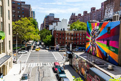 NEW YORK - AUGUST 22. View to the W 24th Street in New York on August 22, 2015. Its in the district of Chelsea, New York Stock Images