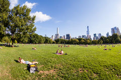 NEW YORK - AUGUST 22. Views of the from the big meadow Central Park to Midtown New York on August 22, 2015. The Central Park is a famous Park in the centre of Royalty Free Stock Photos