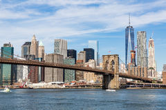 NEW YORK - AUGUST 22. Views of the Brooklyn Bridge on a summer day on August 22, 2015. Its a famous and iconic bridge in New York, which passes the east river Royalty Free Stock Photography